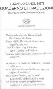 Quaderno Di Traduzioni - Sanguinetti Edoardo